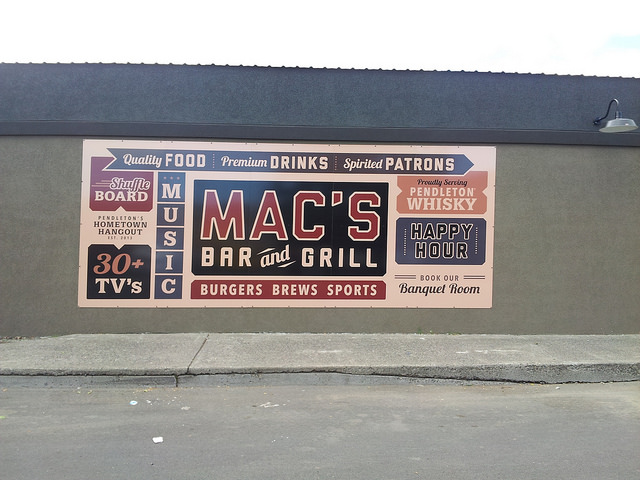 Mac's Bar & Grill large wall sign - 4 panels put side by side to make a 8' x 16' sign.