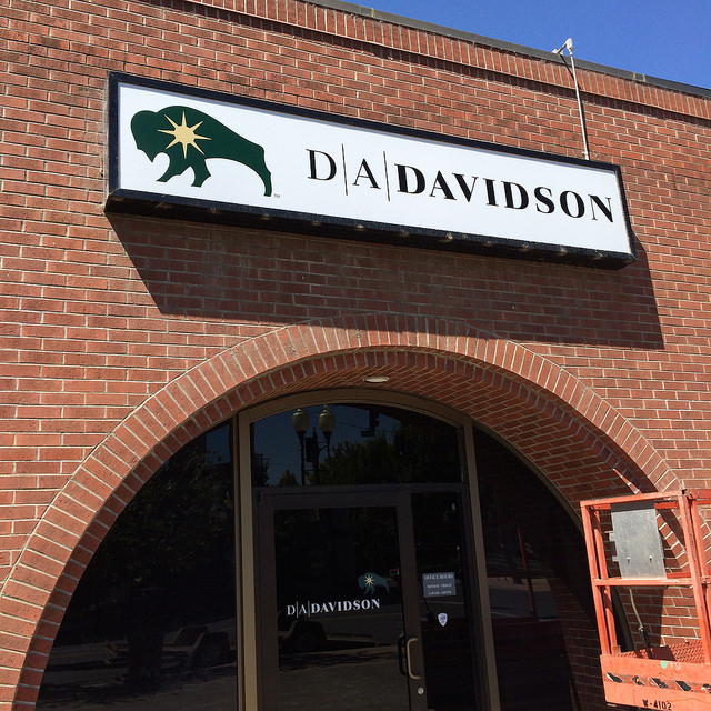 DA Davidson's updated back lit sign with their new logo.
