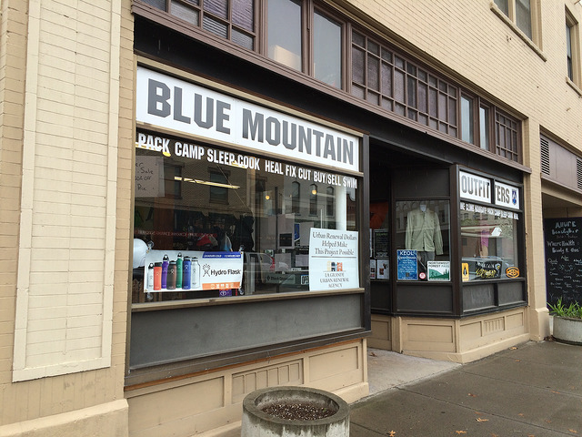 The Blue MTN Outfitters store front sign, La Grande, Oregon.