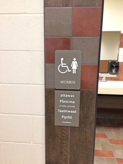 All restroom signs were given the Native American translation.